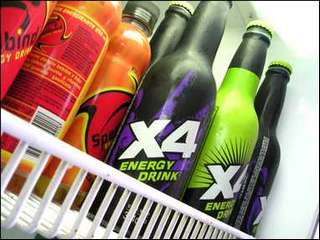 Energy Drink in Refrigerator
